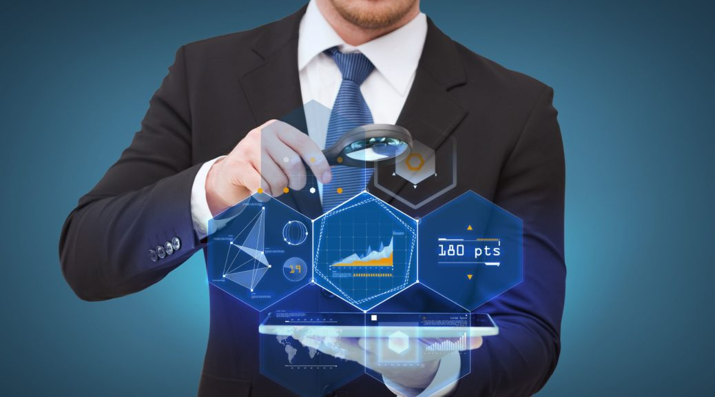 technology, internet and business concept - businessman holding magnifying glass over tablet pc computer